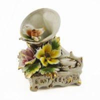 Original Hand Made Italian Capodimonte Gramaphone with Flowers
