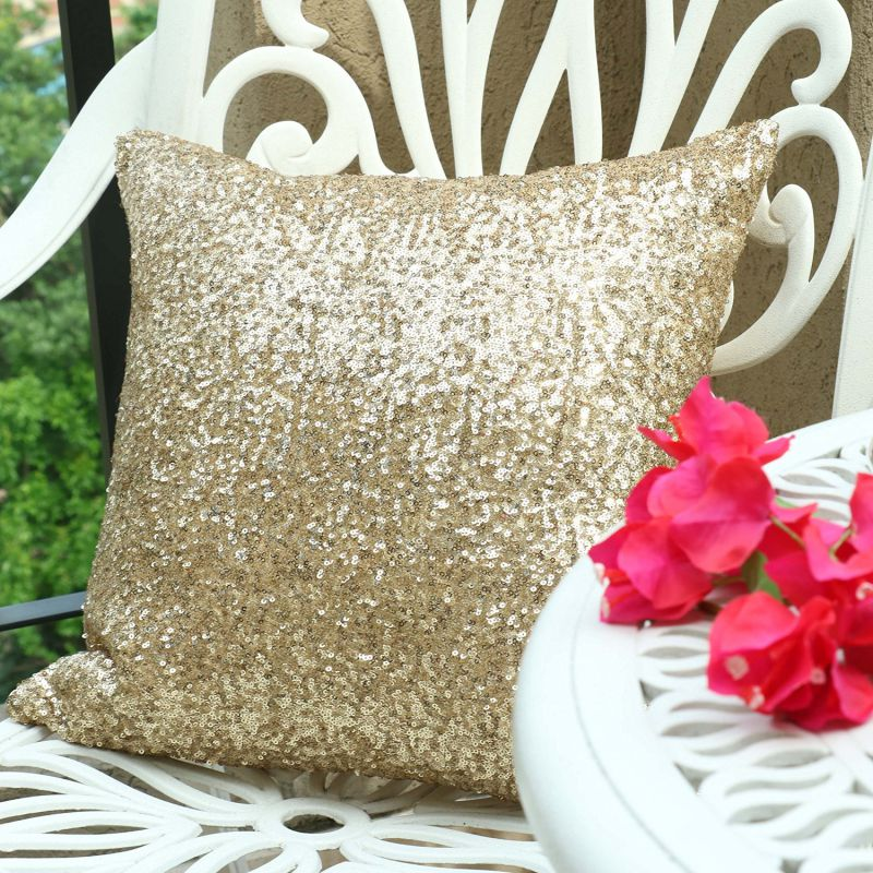 "Pony Dance Stylish Solid Luxurious Sequins Cushion Cover for Party,18""x18""(45cmx45cm), Light Gold"