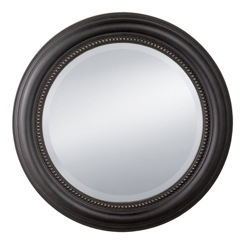 Prinz Distressed Black Round Beaded Profile Mirror, 20-Inch