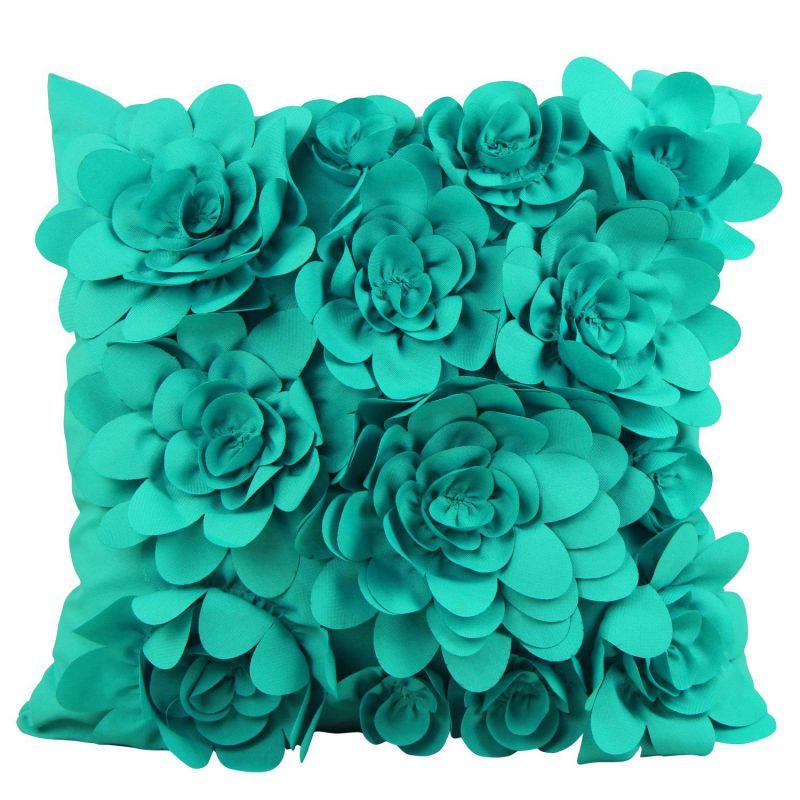 Puredown Canvas Cushion Covers Modern Sofa Pillow Covers Handmade Flowers 18X18 Inch Turquiose