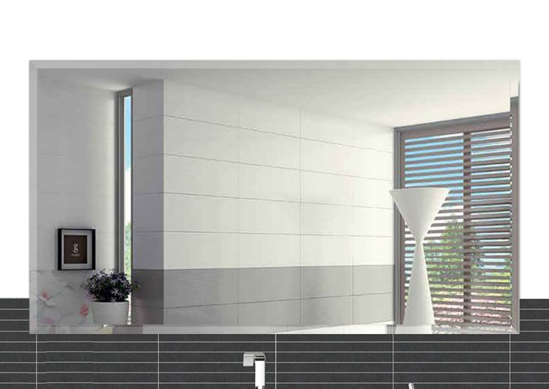 "20""x30"" Inch Rectangle Beveled Polish Frameless Wall Mirror with Hooks"