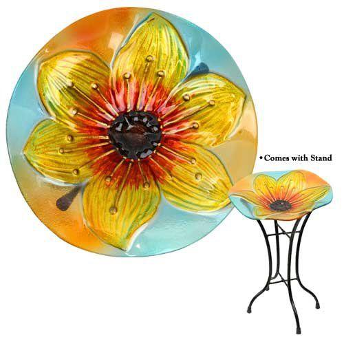 Red Carpet Studios Glass Bird Bath, Mini, Yellow Lily