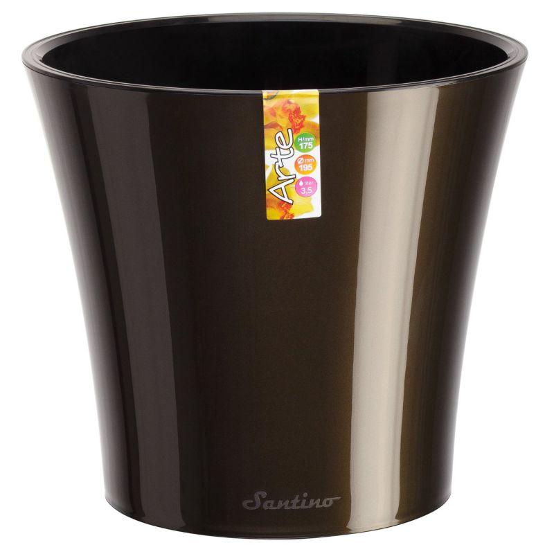 Santino Self Watering Planter Arte 6.5 Inch Black-Gold/Black Flower Pot