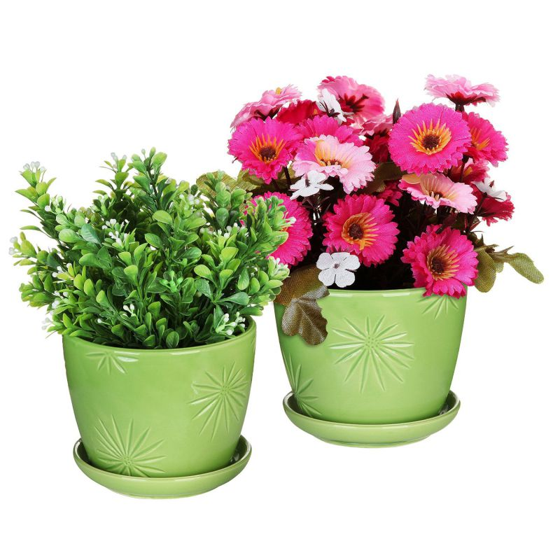 Set of 2 Decorative Green Daisy Burst Design Ceramic Plant Flower Planter Pots w/ Attached Saucers