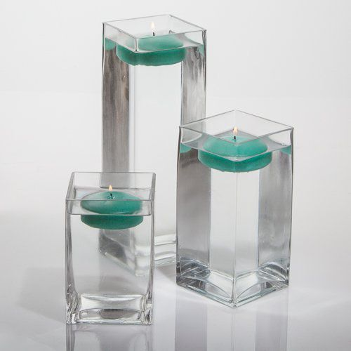 "Set of 3 Eastland Square Vases and 3 Richland Floating Candles 3"" (Aqua Green)"