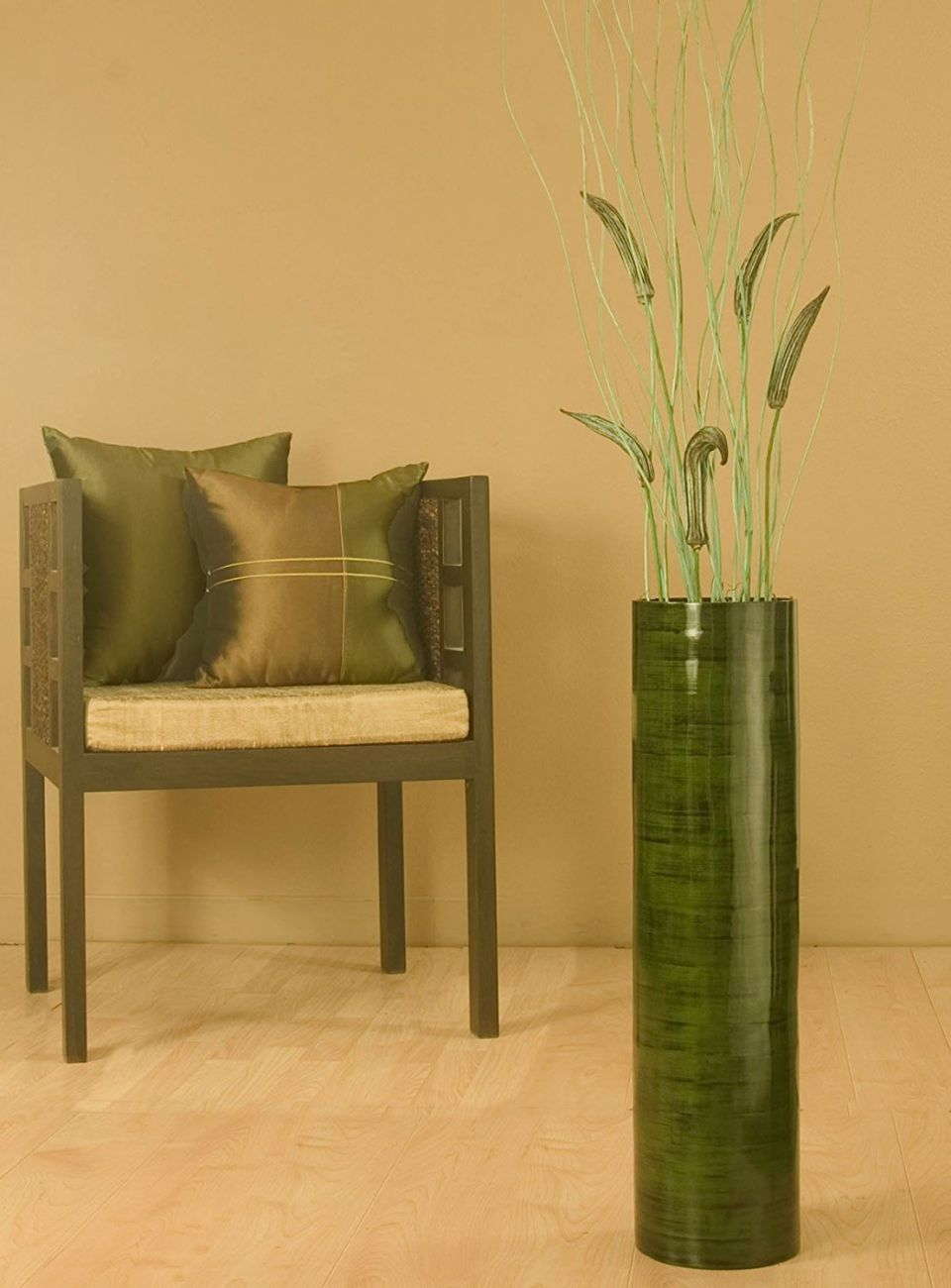 "Shopping The Globe 27"" Inch Bamboo Cylinder Floor Vase (Floral Not Included) - Forest Green"