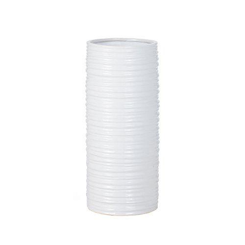 Torre & Tagus 901462 Ripple Ceramic Cylinder Vase, Tall, White