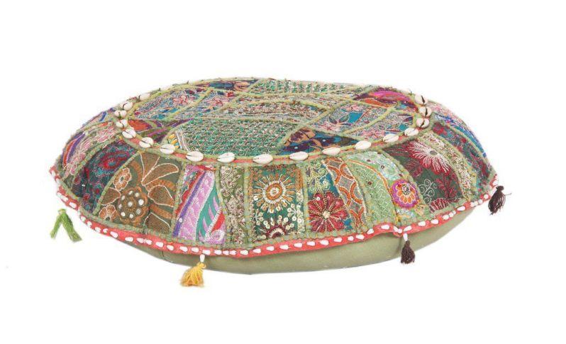 Vintage Pillow Cases Floor Meditation Patchwork Bohemian Ottoman Poufs