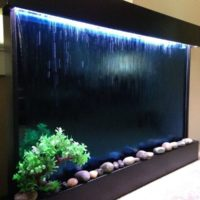 """Wall Waterfall XXL 52""""x35"""" Water Fountain, Blue Glass/ Black Frame Color Changing Lights, Remote Ctrl By Jersey Home Decor"""