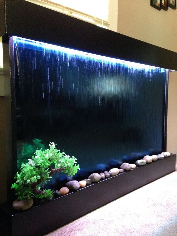 "Wall Waterfall XXL 52""x35"" Water Fountain, Blue Glass/ Black Frame Color Changing Lights, Remote Ctrl By Jersey Home Decor"