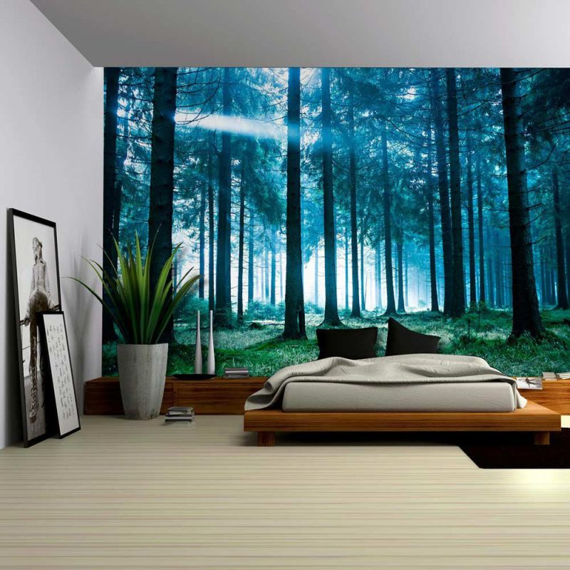 Wall26® - Blue Misted Forest with the Sun Peaking Through - Wall Mural, Removable Sticker, Home Decor - 100x144 inches