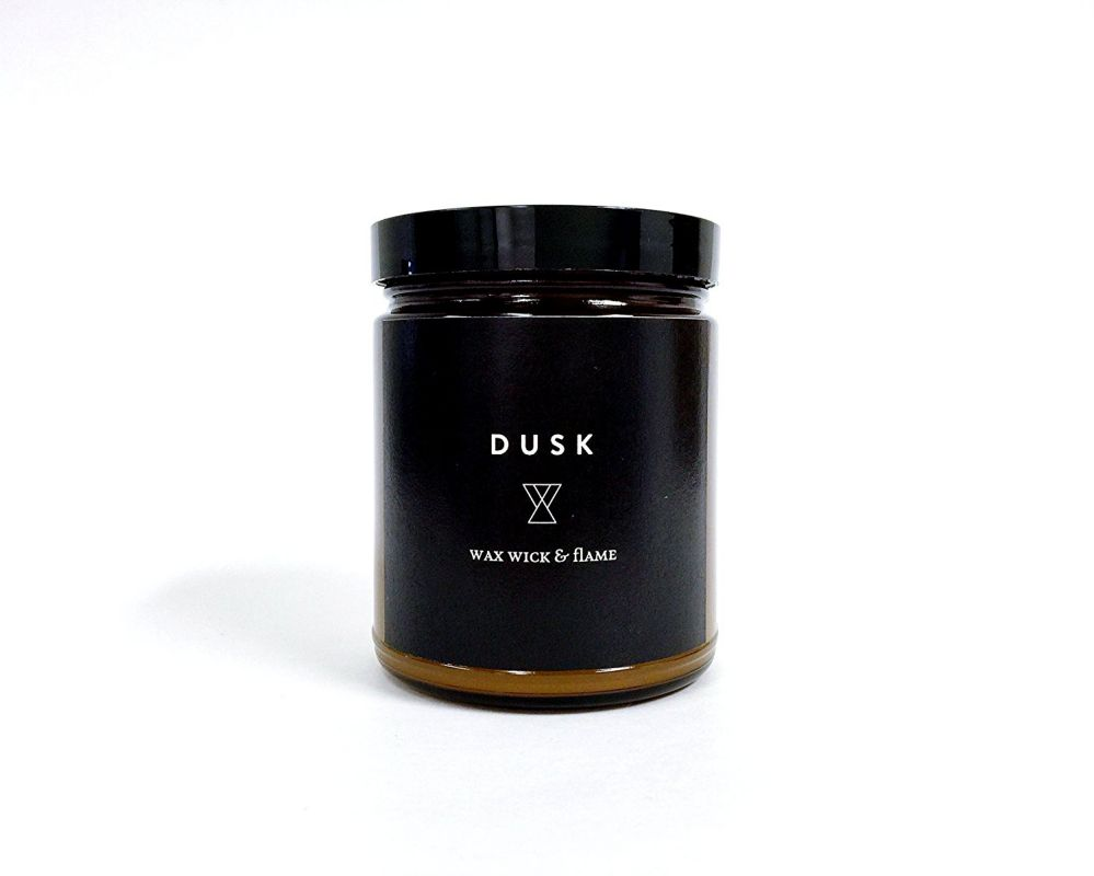 Wax Wick and Flame Perfume Grade Fragrance Scented Soy Candle 8 Oz, 40 Hour Burn Time Series: Time Scent: Dusk - Warm, Light, Woods, Floral and a Hint of Musk