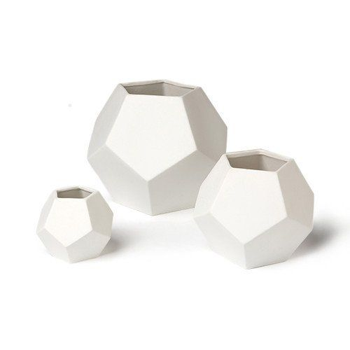 White Faceted Vase, Small