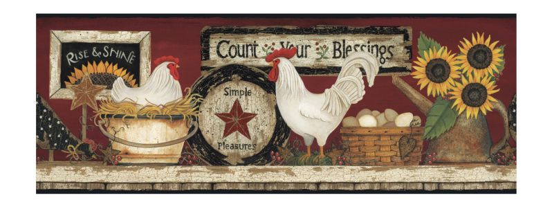 York Wallcoverings CB5538BD Hen And Rooster Border