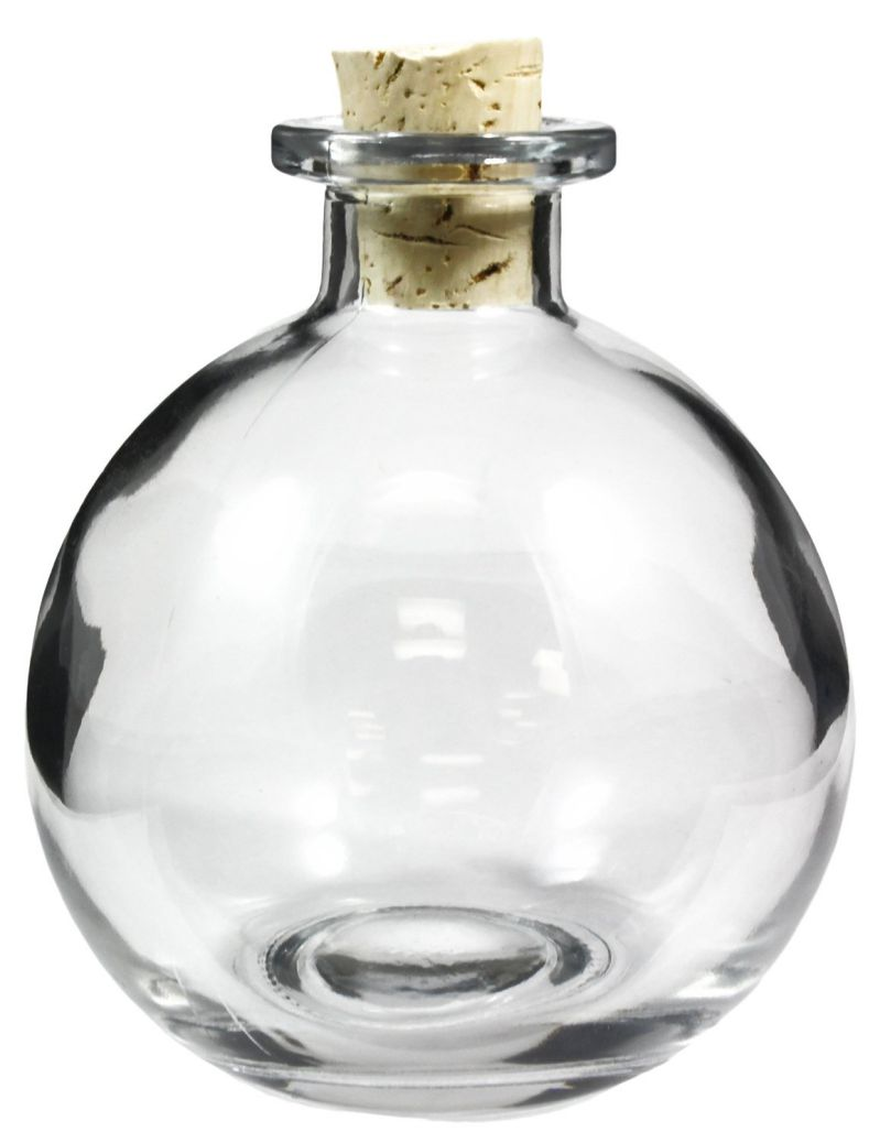 8.5-Ounce Clear Round Glass Bottle with Cork Stopper, Spherical Bottle for Aromatherapy Oils, Wedding Favors, DIY Projects, & More!
