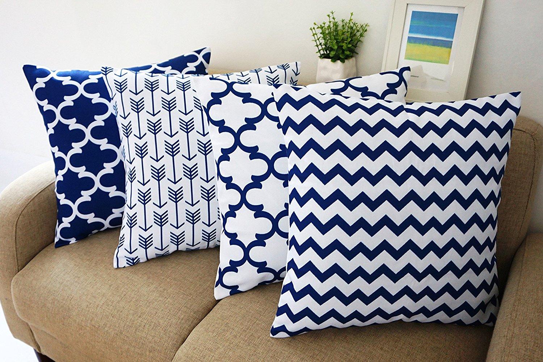 "Blue and White Howarmer® Square Cotton Canvas Decorative Throw Pillows Cover Set of 4 Accent Pattern - Navy Blue Quatrefoil, Navy Blue Arrow, Chevron Cover Set 18""x 18"""