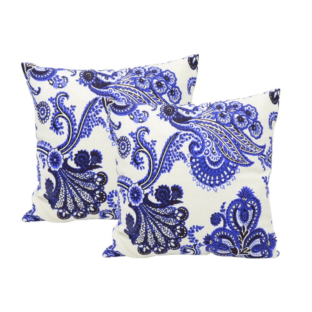 EtechMart Reversible Blue and White Porcelain Pillow Case Cover W/O Pillow Inner 18x18 (Pack of 2)