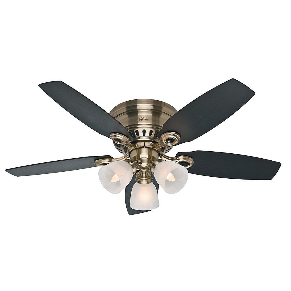 Hunter Fan Company 52085 Hatherton 46-Inch Antique Brass Ceiling Fan with Five Black Oak/Dark Walnut Blades and a Light Kit