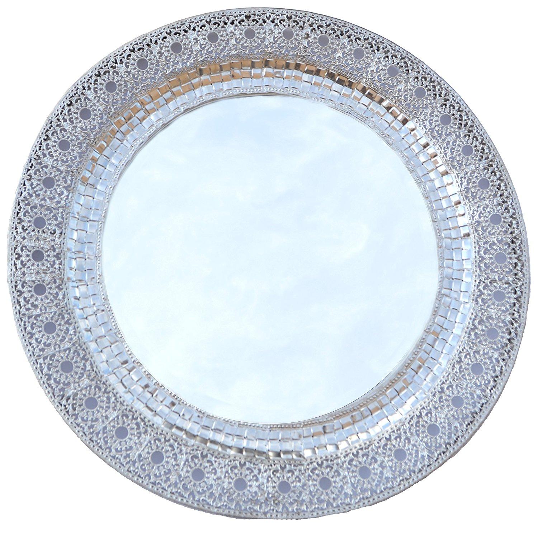 Lulu Decor, Oriental Round Silver Metal Beveled Wall Mirror (Oriental Round 24')