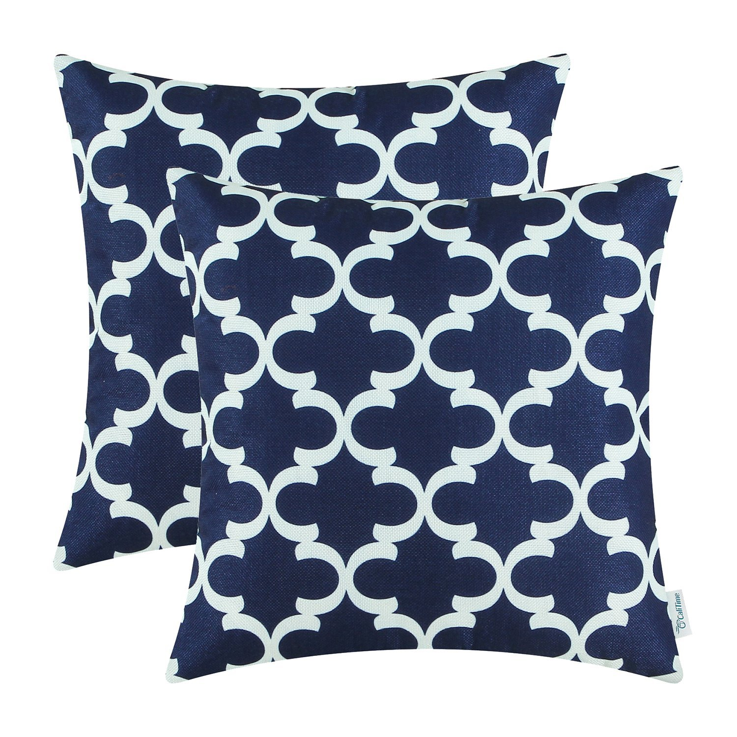 Pack of 2 CaliTime Throw Pillow Covers 18 X 18 Inches, Quatrefoil Accent Geometric, Navy Blue