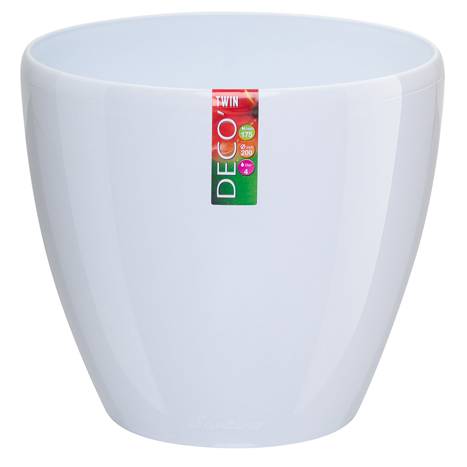 Santino Self Watering Planter DECO 6.7 Inch White Flower Pot