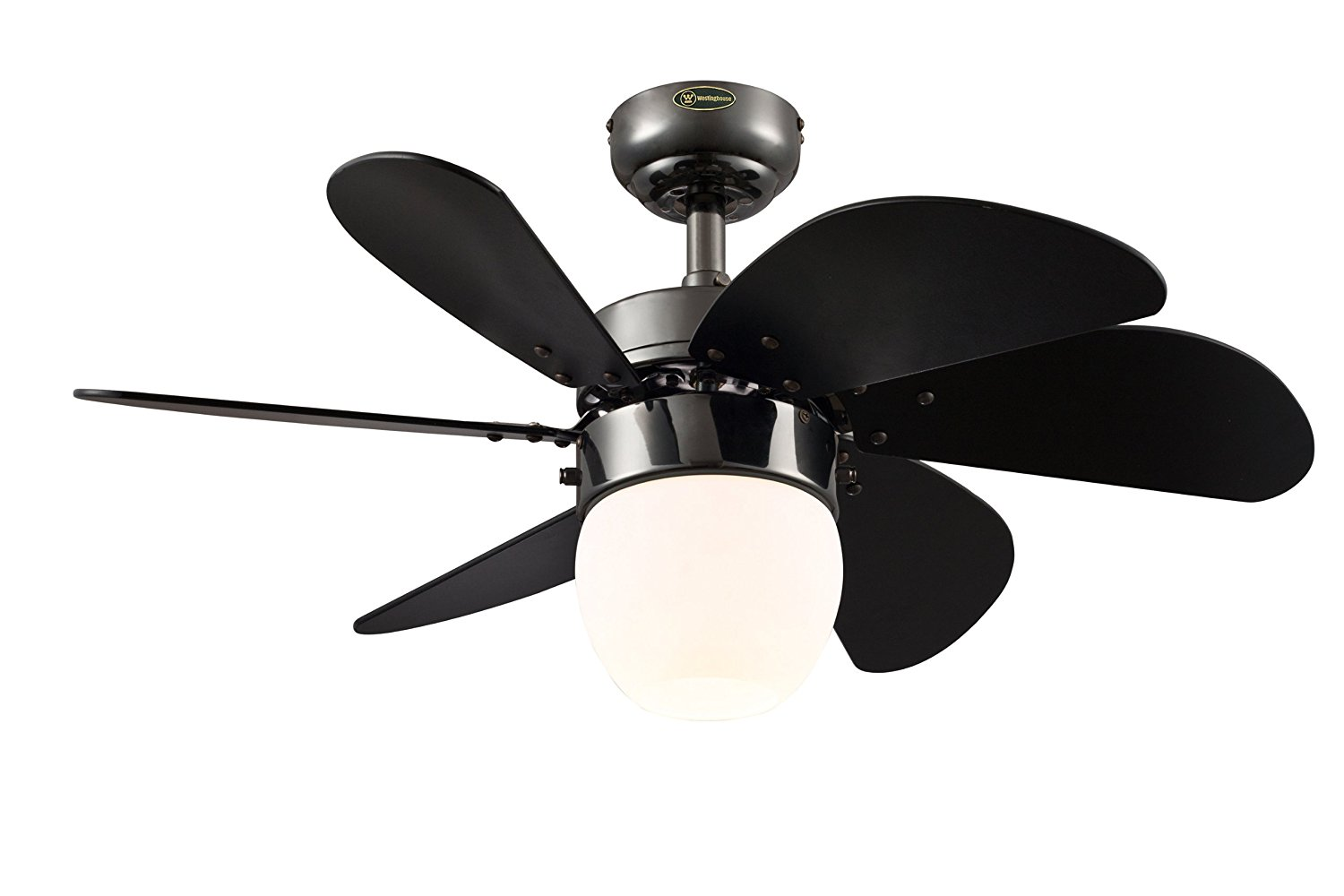 Westinghouse 7226100 Turbo Swirl CFL Single-Light 30-Inch Six-Blade Indoor Ceiling Fan, Gun Metal with Opal Frosted Glass