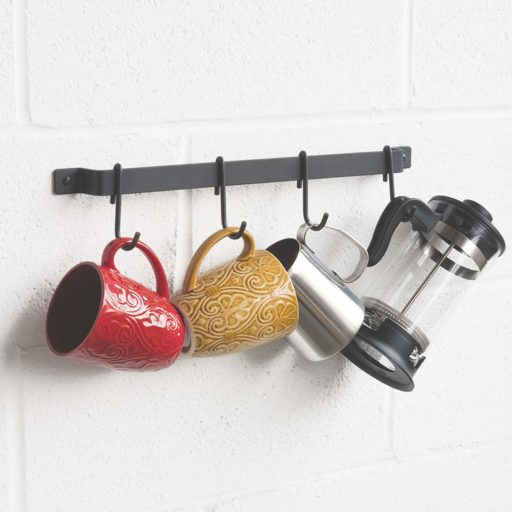 Wallniture Gourmet Kitchen Rail with 10 Hooks   Wall Mounted Wrought Iron Hanging Utensil Holder Rack with Black 17 Inch